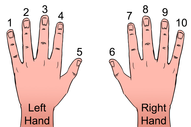 Hold your hands out with palms on the desk and put a number next to each finger from left to right