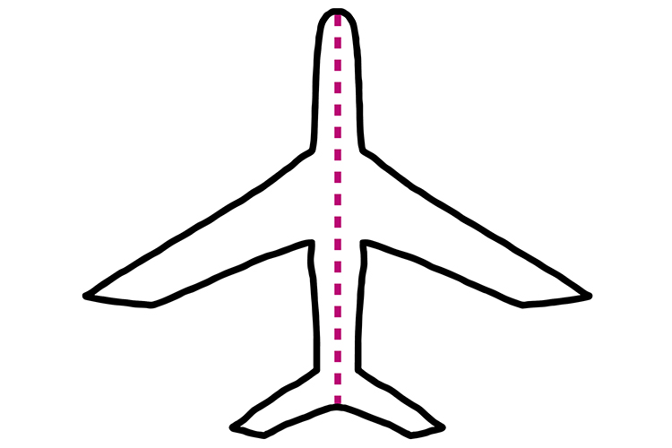 Most aeroplanes are symmetrical if you half it down the middle
