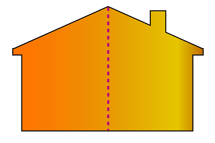 A house with a chimney would not be symmetrical unless the chimney was right on top in the middle of the house