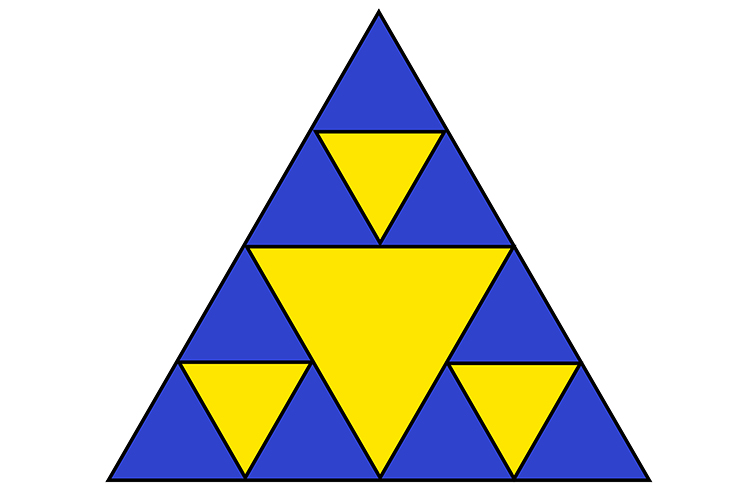 Equilateral triangles containing more triangles, where all are separate