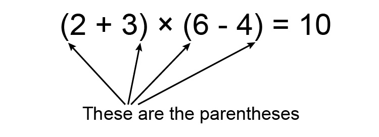 Example of parenthesis, remember bracketed sums need to be calculated first when following BIDMAS