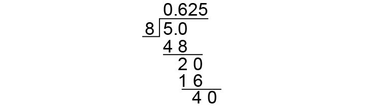 Fraction to decimal example 1