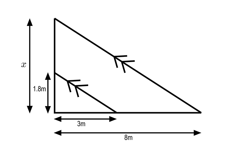 Redraw the triangle of the shadow in 2D then add the extra parallel line to match the long length of the triangle