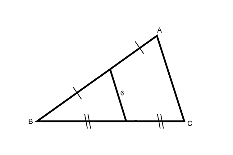 Find the distance of A to C using midpoints