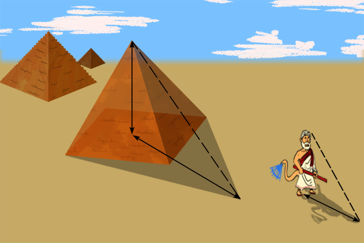 Ingeniously he measured the pyramids shadow only when his own shadow was the same height as himself