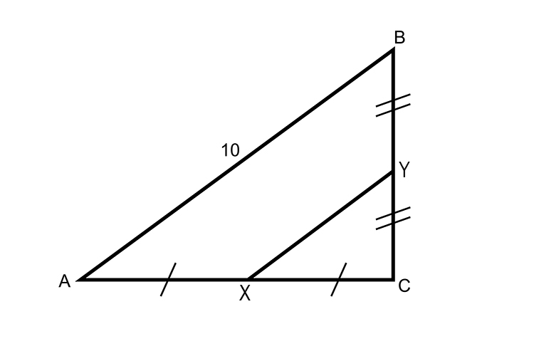 Lines A to C and C to B are bisected at their midpoints
