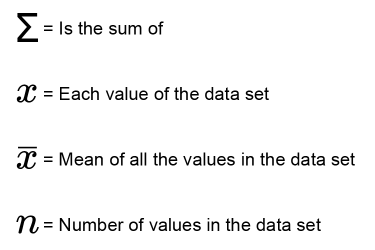 The standard deviation of a value, has a symbol which is an easier way to show the full formula
