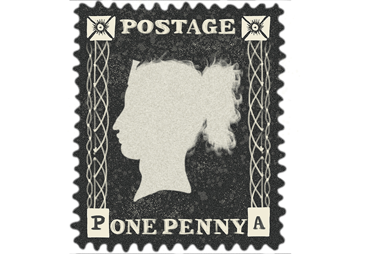 The penny black was the first stamp produced in 1840