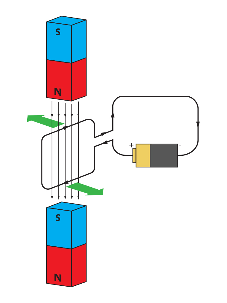 The forces on a coil between two magnets