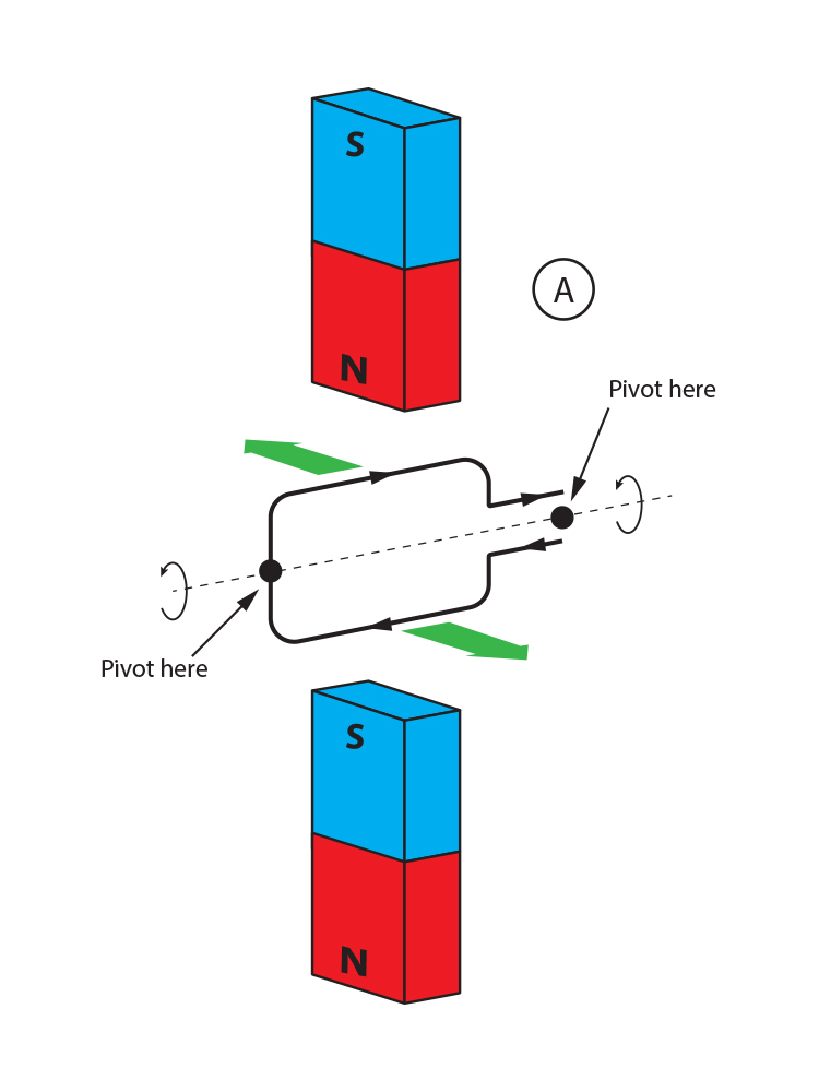 Opposing forces on a coil between two magnets