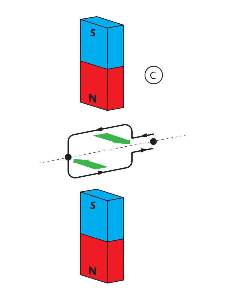 Opposing forces can cause the coil to spin