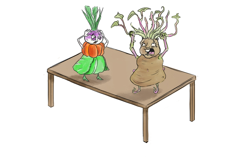 Potato and vegetable on top of a table mnemonic to help remember gas laws in physics
