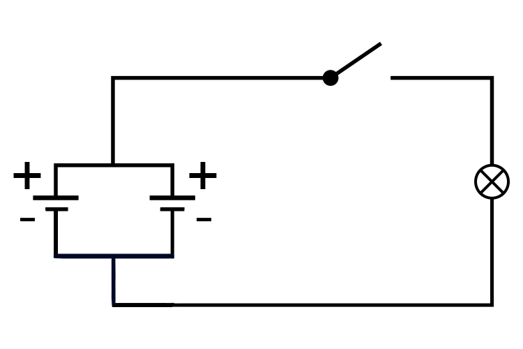 Circuit diagram showing two batteries in parallel.