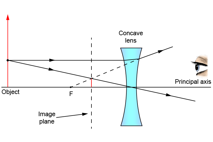 Finding the image pane using a ray diagram where the object is bigger than the concave lens
