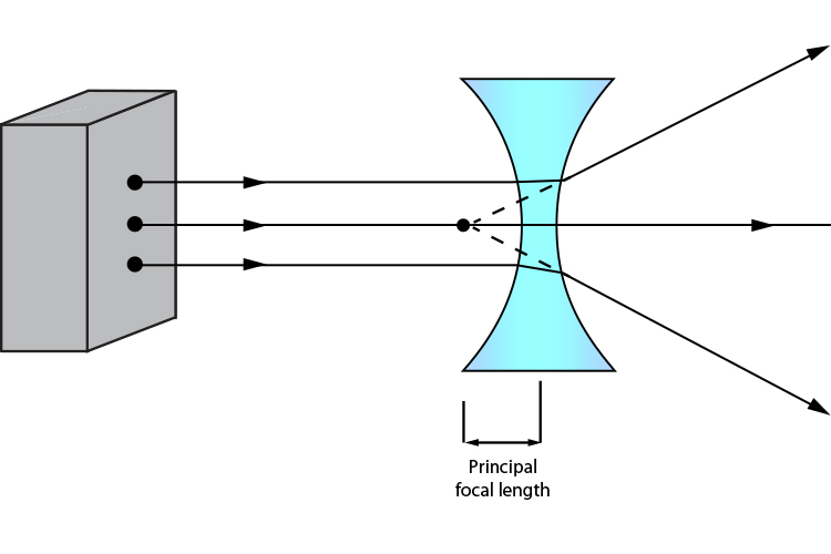 Ray diagram showing the principal focal length of a concave lens with a greater curvature
