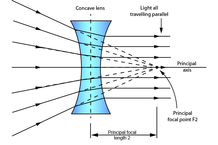 Light rays emerging from a concave lens in parallel