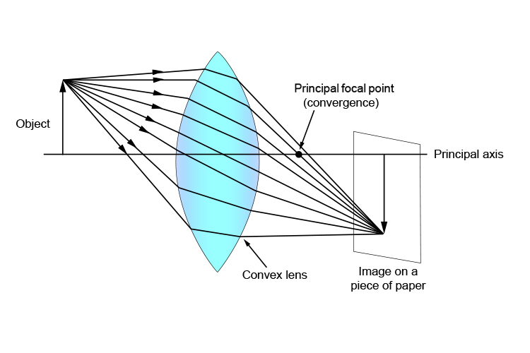 Ray diagram showing the location of the principal focal (convergence) point