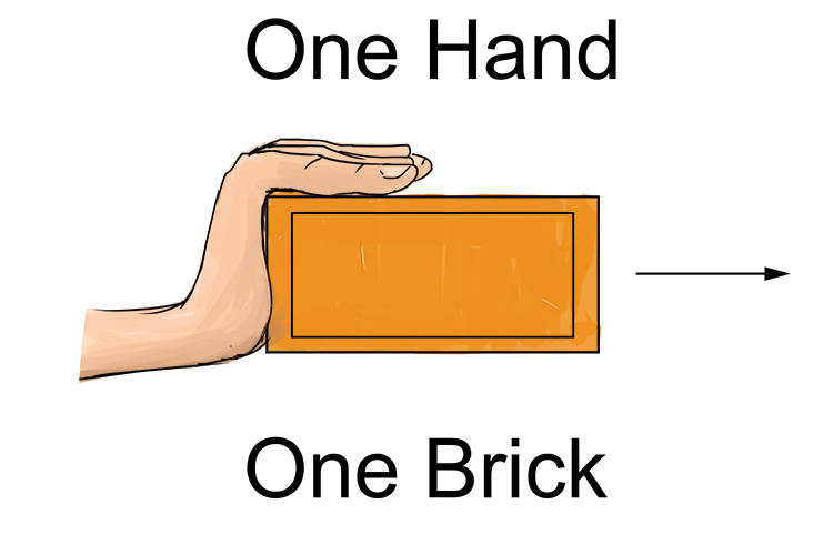 One hand pushing one brick.
