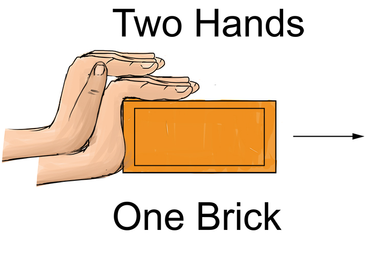 Two hands pushing one brick.