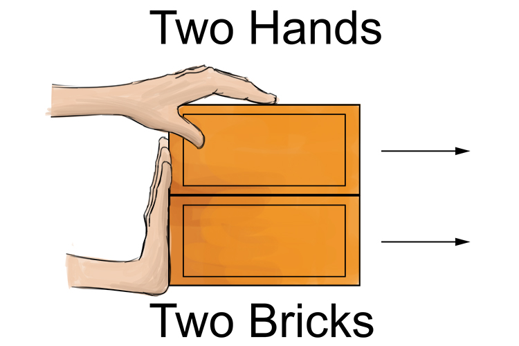 Two hands pushing two bricks.