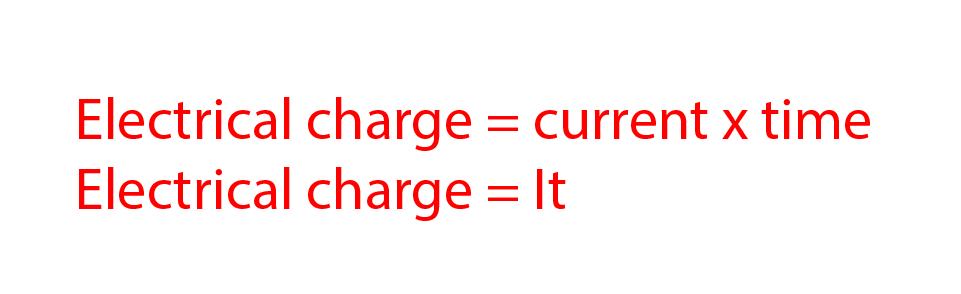Electrical charge is measured by current multiplied by time