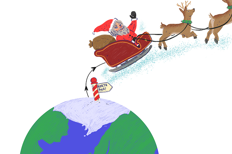 Santa travels from the north pole.