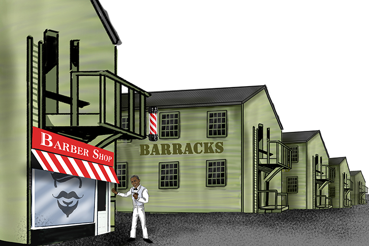 The old barber (Obama) had set up his shop at the army barracks (Barack).