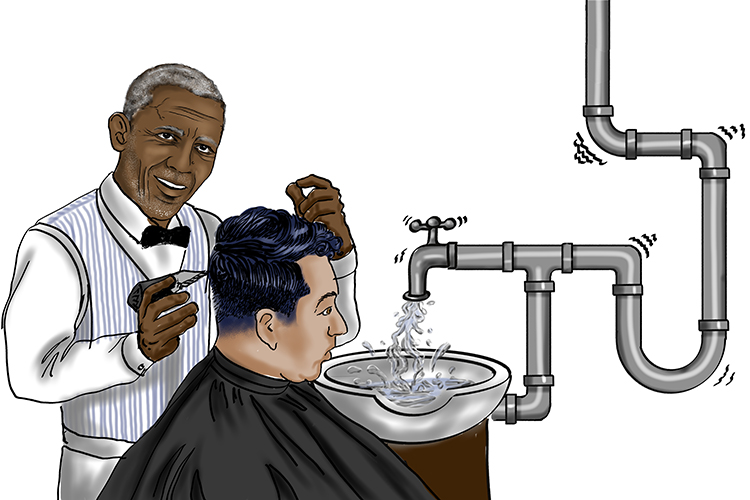 There was a roar (44) from the old barber's (Obama) shop as the water rushed through the Stainless Steel Pipe (009=2009) before spurting from the tap.