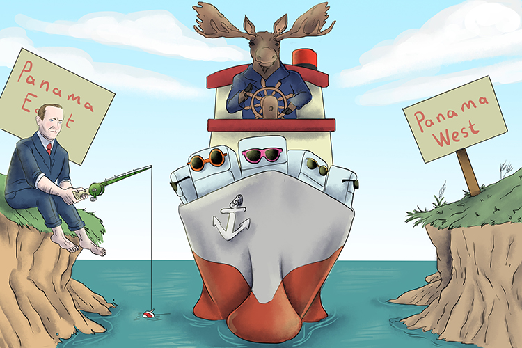 The moose (30) guided his ship carrying cool fridges (Coolidge) along the Panama (923) Canal.