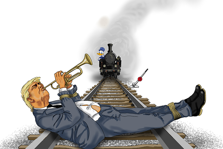 As the train sped along the rail (45) tracks the President played his trumpet (Trump) hoping someone would pull the stick (017=2017) to divert the train.