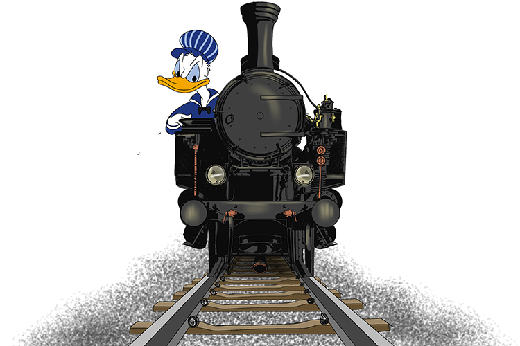 He hoped the trumpet (Trump) would get people's attention before Donald Duck (Donald) ran him over in the train.