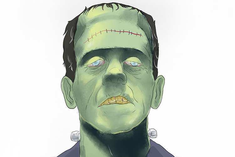The patient whose tartar the dentist couldn't pierce (Pierce) was actually Frankenstein. Frankenstein has a scar, like a line, on his forehead (Frank + line = Franklin).