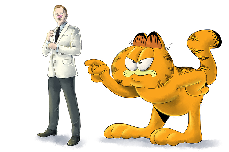 Garfield (Garfield) lost his nose. Where did he find it? Yes! – at the end of James Bond's face. When the man turned around, it was James Bond.