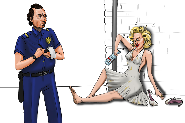 The law (5) caught up with Marilyn Monroe (Monroe) as she collapsed after drinking another bottle of vodka (817 = 1817).