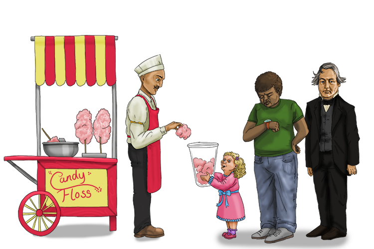 It was taking a long time (13) for the candy man to fill more (Fillmore) of her container with candy floss (850 = 1850).