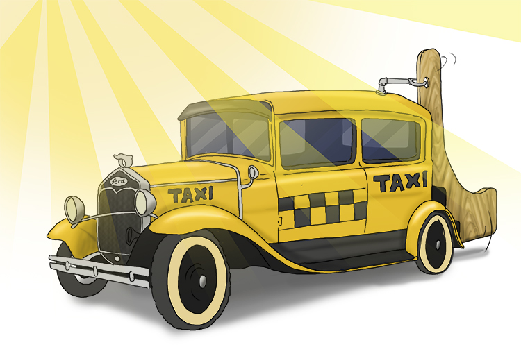 Through the haze (Hayes), an old Ford with a rudder (rudder Ford – Rutherford) appeared. It was a taxi to take him home.