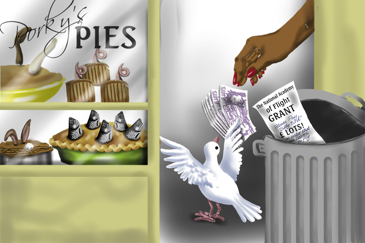 The dove (18) received a grant (Grant) to learn to fly, but she spent it on a fish pie (869=1869).