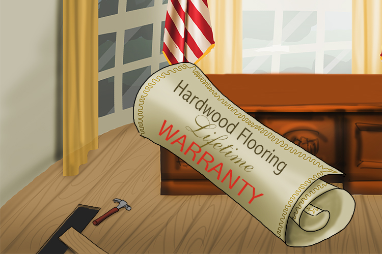 Fortunately, the hard (Harding) wood flooring was covered by a comprehensive lifetime warranty (Warren).