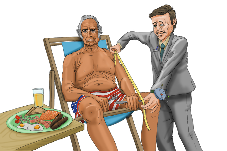 Only a president can get a tan (12), be measured by a tailor (Taylor) and have a fry-up (849 = 1849) all at the same time.