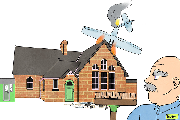 The janitor had a huge clear up operation when an aeroplane crashed in to the grounds of the building he looked after.