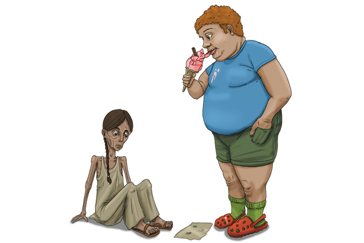 She couldn't afford one lick (LIC) of ice cream because she was from such a low-income country.