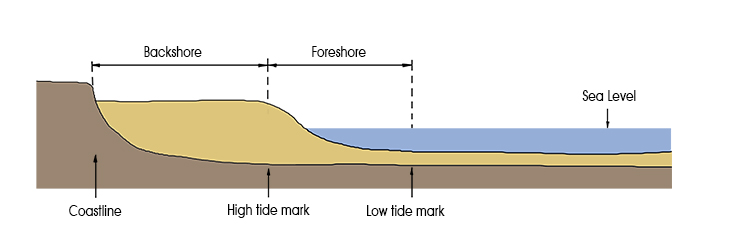 Foreshore diagram showing parts of a shoreline