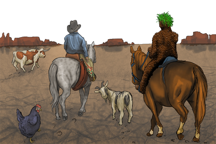 The soil man didn't stay. He rode off into the sun (soil erosion) with his animals and human help.