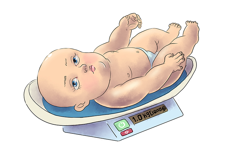 At birth the baby's weight (birth rate) was just 1.0kg, or 1000 grammes (per thousand population). But the doctors were certain she would be up to normal weight quite soon.