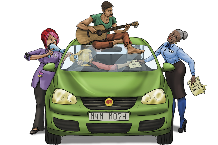 She took her car for a service and found to her surprise, that inside the garage there were lots of other industries (service industries). A financial services desk, a drinks bar, a beauty salon and a live band on stage.