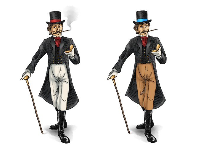 Here are two pictures of a distinguished fellow, but can you spot the differences? See the different-coloured trousers, see the smoke not coming out of the cigarette, See the blue band on the hat.