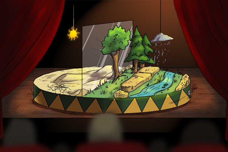The new green scene came with the revolution of the stage (the new green revolution). As the stage turned the land in front of the audience went from dry and arid to lush and verdant.