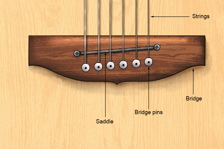 Here is a detailed drawing of a bridge and saddle on a guitar.