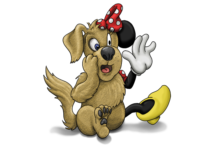But imagine that the 'd' for dog is half dog and half Minnie Mouse (minim).