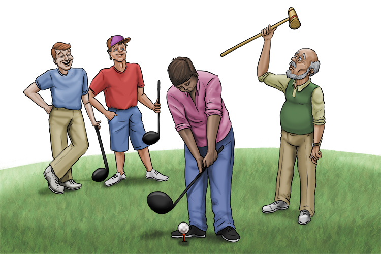 But a quarter of the golf club players (one of the players) has been using a croquet (crotchety) mallet instead of a club.